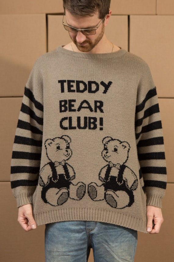 Vintage Teddy Sweater - Teddy Bear Club Brown XL size Earth Tone Knit Pullover Crew Neck Jumper for Him or Her