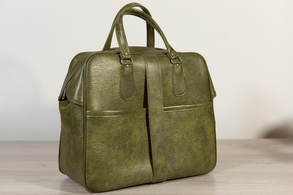 Vintage Overnight Bag - Green Faux Leather Retro Carry on Suitcase for Office, Travelling