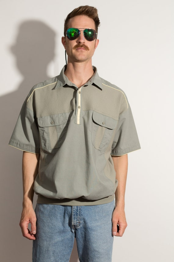 Men's Polo Shirt - Vintage Large Size Green Tee with Breast Pockets - Retro Short Sleeve Summer Golf Shirt