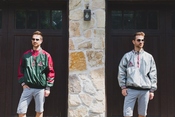 Reversible Windbreaker - 90's Pro-Player Phoenix Coyotes Metallic Silver and Green Sports Jacket - Vintage Nylon Coat - Fall Autumn Raincoat