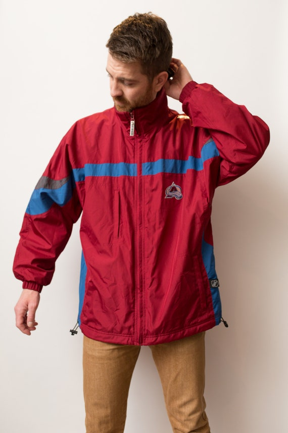 Men's NHL CCM Windbreaker - Vintage Blue and Red Nylon Jacket - Snow  Ski Jacket - Medium Snowmobiling Winter Coat