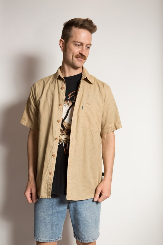 Vintage Men's Hemp Shirt - Medium Size Beige Safari Button up Shirt - Outdoor Hippie Shirt - Music Festival Wear - Western Wear