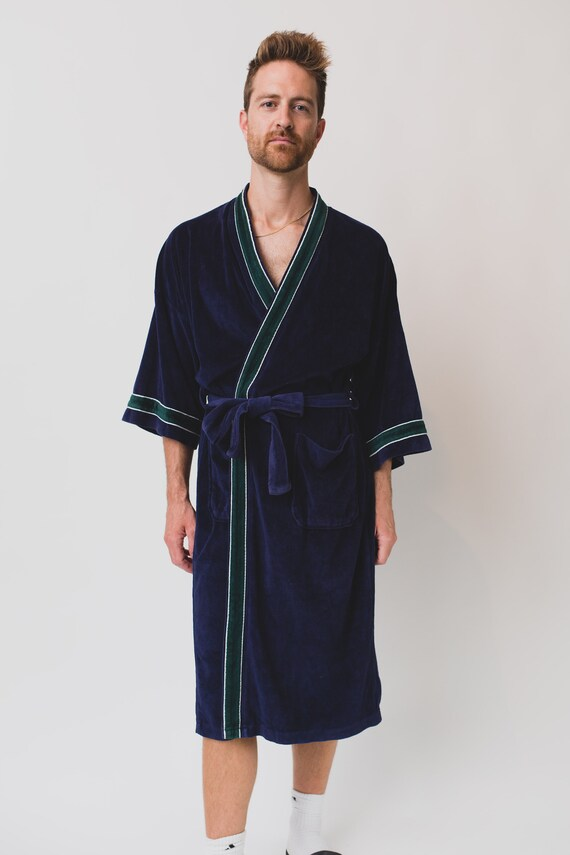 Vintage Men's Robe - Pierre Cardin Valour Green and Blue Pajamas / Dressing Gown - Bedroom Attire - Gift for him - Smoking Robe