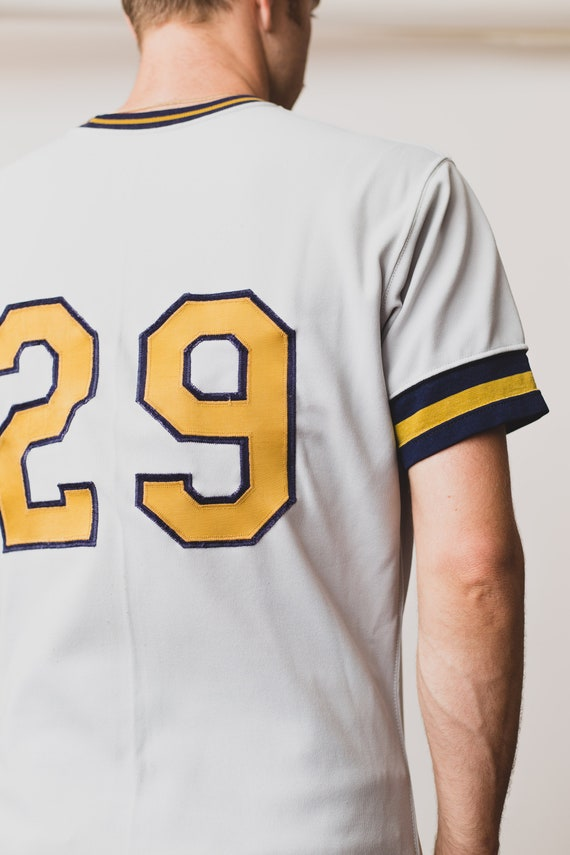 Shirt Sports T Retro Men's Size and Shirt Grey Jersey Panthers Sportswear Varsity Tee Yellow Vintage by Baseball Medium Rawlings IwqPpBXpn