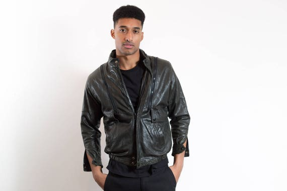Vintage Leather Jacket / Mens Green Button Bomber Jacket / Unisex Vest Jacket with removable Arms