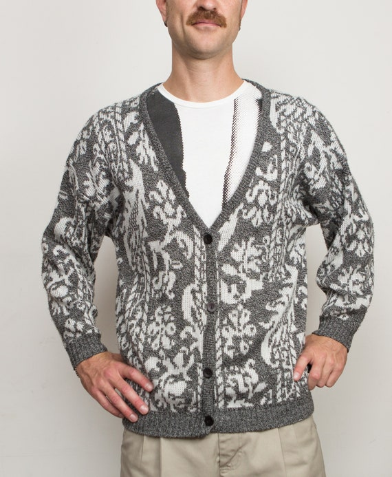 Vintage Grey Cardigan - Ornate Pattern Medium Size Grey and White Button Acrylic Jumper for Him - Gift for Dad