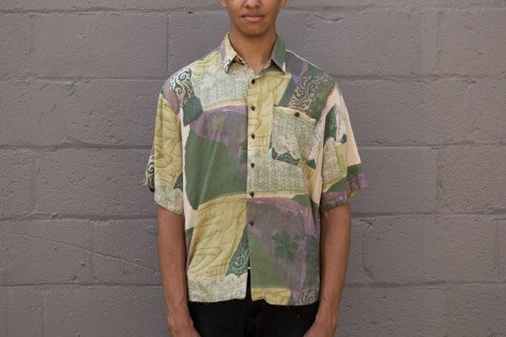 Vintage Abstract Shirt - 90's Medium Size Men's Baroque Geometric Button up Short Sleeved Fresh Prince of Belair Shirt