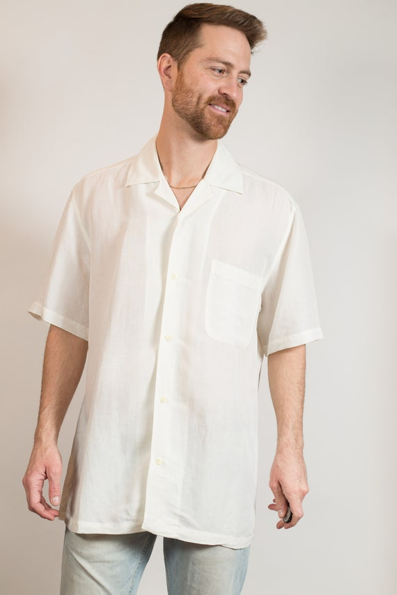 Vintage Men's Oversized Shirt - Off-white Medium Full Size Short Sleeved Summer Casual shirt - Formal Oxford Shirt
