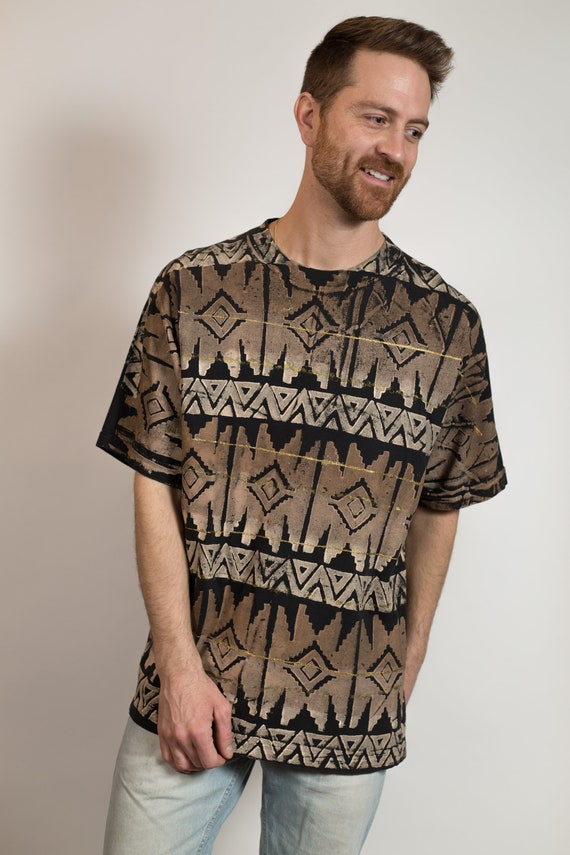 Vintage Men's Tribal T-Shirt - Brownish Ombre Hand Painted Large Size Oversized Boxy Geometric Pattern T-shirt
