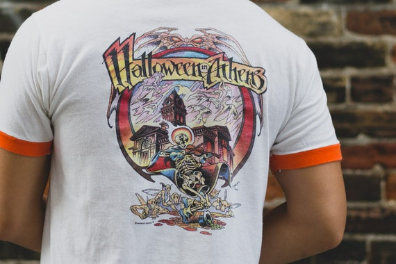 Vintage Halloween Shirt - Men's Medium Orange and White Halloween in Athens Tee - Vintage T-shirt - Made in USA