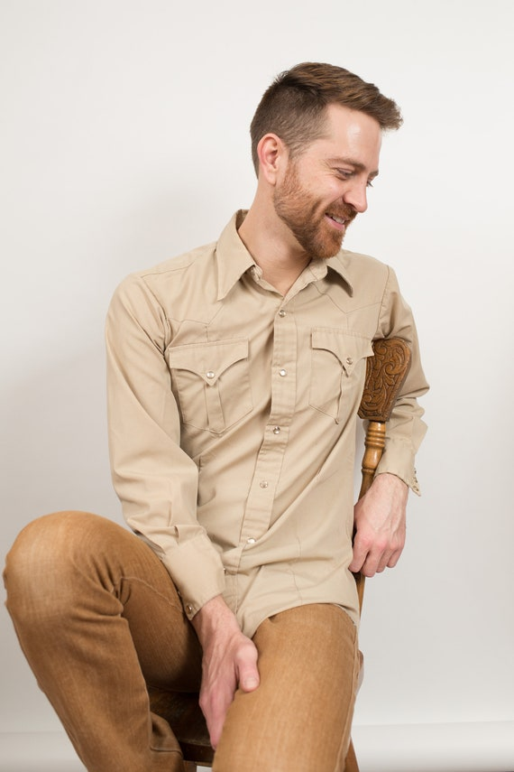 Vintage Men's Western Shirt - Medium Beige Tan Brown Snap Button Shirt - Outdoor Rodeo Cowboy Button Up Fall Autumn Shirt