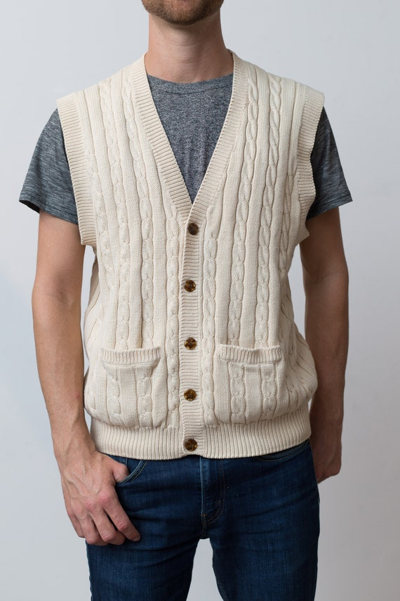 Vintage Men's Sweater Vest - Large size Cream White Cable Knit Irish or Scottish Knot Style Button up Vet - Cotton Preppy Vest