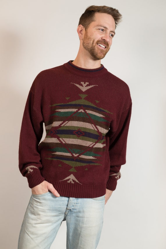 Vintage Knit Sweater - Men's Medium Size Burgundy Red Knit Sweater with Abstract Southwest Navajo Aztec Pattern - Retro Pullover Jumper