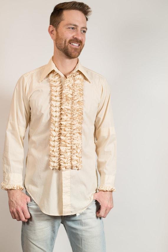 1960's Ruffled Tuxedo Shirt - Men's Formal Button up Shirt - Off-white Magnolia Colored Medium Size Long Sleeved Folk Band Dress shirt