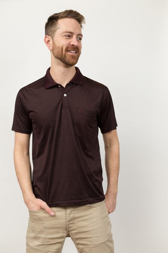 Vintage Men's Golf Shirt - Medium Size Dark Brown Polo Shirt Preppy Dexwood Shirt
