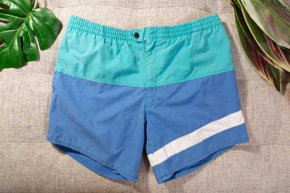 28 Waist Green Beach Pattern Shorts Vintage Swimshorts Fresh Prince Style