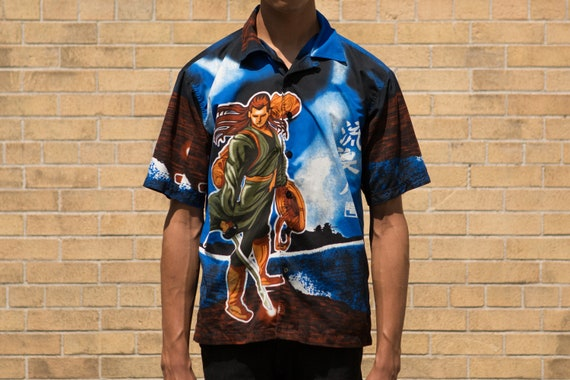 Vintage Anime Shirt - 90s Small Size Men's Button up Casual Short Sleeved Japanese Warrior Style