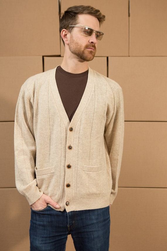 Vintage Men's Wool Cardigan -Beige Coloured Knit Sweater - Casual Preppy Sporty Golf Button up Grandpa Jumper
