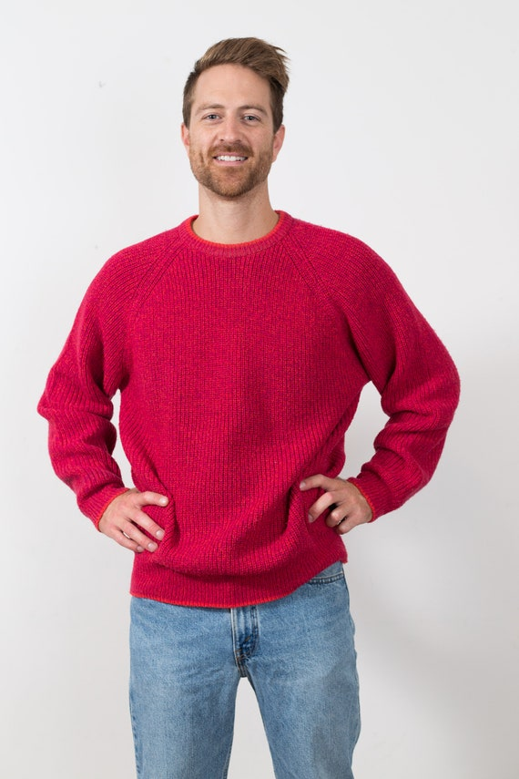 Vintage Fuchsia Pink Sweater - Men's Crew Neck - Solid Knit XL Size Unisex Winter Pullover Jumper for Him or Her