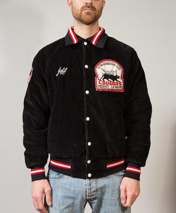 Vintage Varsity Jacket / Men's Cougars Medium Size Black Corduroy Bomber Jacket - Sporty Jock Sports Team University Hockey League Coat