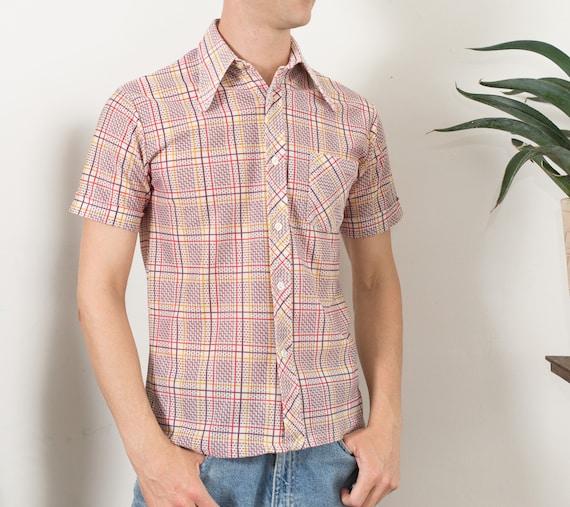 Vintage Men's Shirt - Thin Fabric Medium Size Plaid Shirt - Checkered Outdoor Summer Shirt - Button up Western Cowboy Top