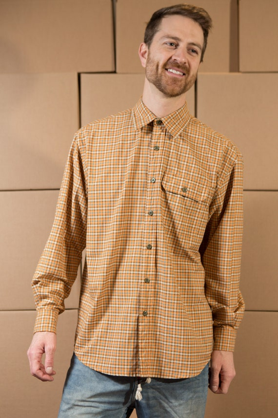 Vintage Orange Shirt - Men's Medium Button Down Tilley Endurables Shirt - Checkered Tartan Style Long Sleeved Dress shirt