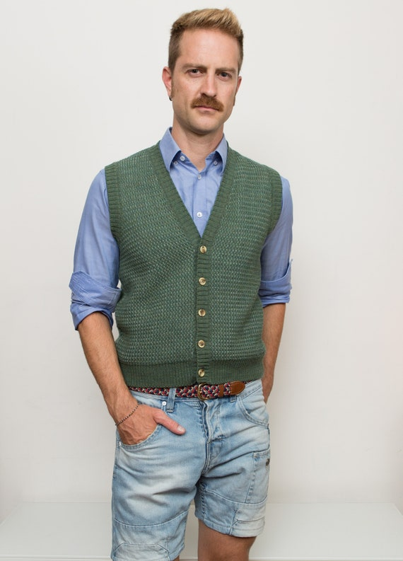 Vintage Green Sweater Vest - Solid Knit Medium Size Acrylic Button up Vest for Him - Dad Vest - Retro English Knit