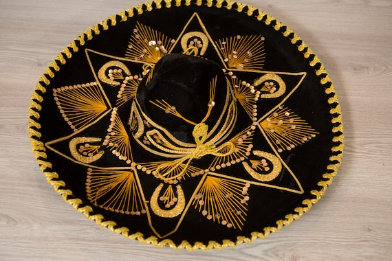 Vintage Sombrero - Large Black Velour Mexican Hat - Puerto Vallarta Hat - Mexican Food Restaurant Decor - Southwest Cowboy Hat