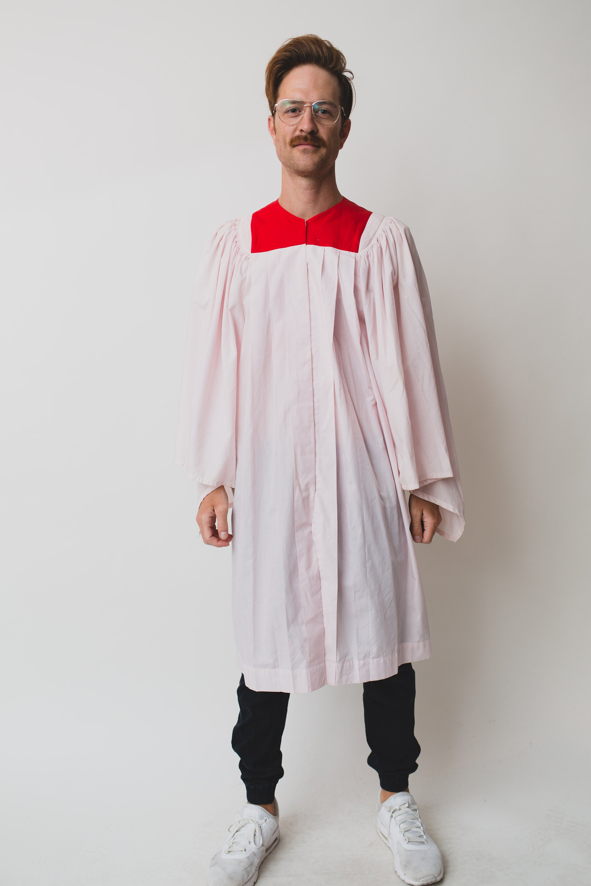 Vintage Men\'s Choir Gown - Pink and Red Graduation Robe