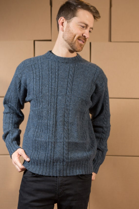 Vintage Blue Sweater - Men's Cable Knit TexWood Wool Medium Size Blue Pullover Crew Neck Jumper for Him - Gift for Dad - Christmas Sweater