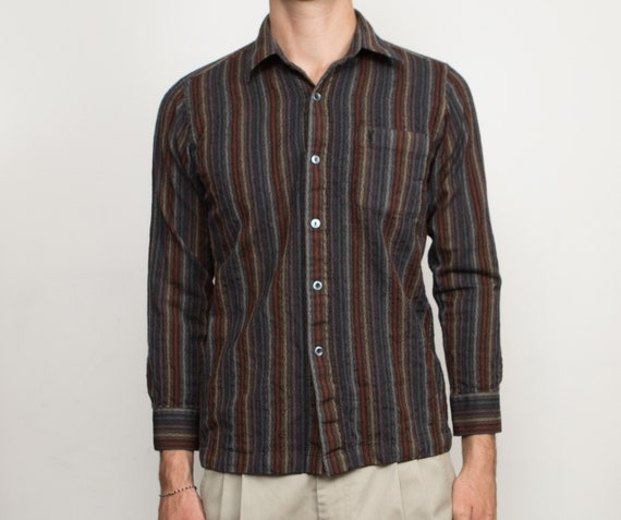 Striped Shirt with Yves Saint Laurent Tag - Men's Small Size Button Down Casual Shirt - Long Sleeved Dress shirt