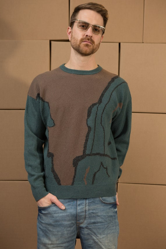 Vintage Green and Brown Sweater - Men's Retro Abstract Knit - Medium Size  pullover Crew Neck Jumper for Him - Christmas Dad Sweater