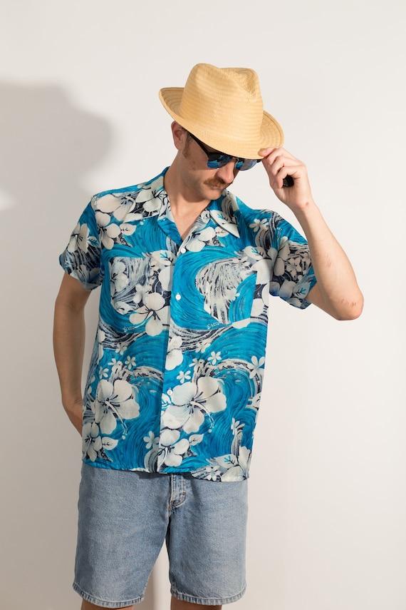 Vintage Blue Hawaiian Shirt - Large Size Men's Button up Casual Short Sleeved White Fauna and Floral Tiki Aloha Summer Tropical Beach Shirt