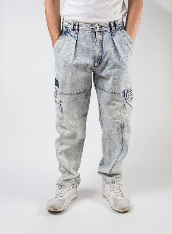 "Vintage Bugle Boy Jeans - 1980's W33"" Faded Acid S"