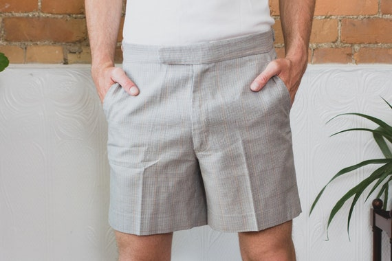 "Vintage Grey Shorts - Men's 34"" Waist Size PolyesterTweed Pattern Shorts - Casual Preppy Dressy Office Summer Trunks"