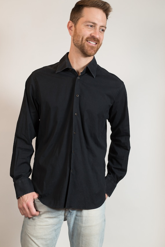 Men's Prada Shirt - Black Medium Regular Size Long Sleeved Summer Casual shirt - Formal Oxford Shirt