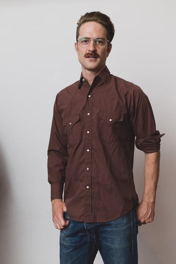 Vintage Men's Western Shirt - Medium Plains Brown Snap Button Shirt - Outdoor Rodeo Cowboy Button Up Fall Autumn Shirt