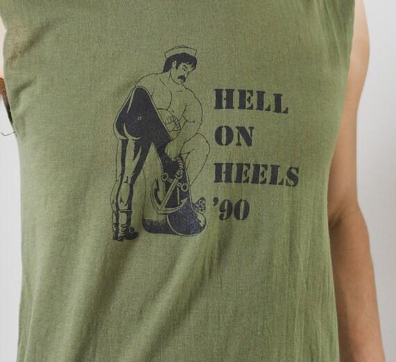 Vintage 90's Hell On Heels Shirt - Men's Medium Size Green Coloured Sleeveless Muscle T-shirt - LGBT Gay Interest