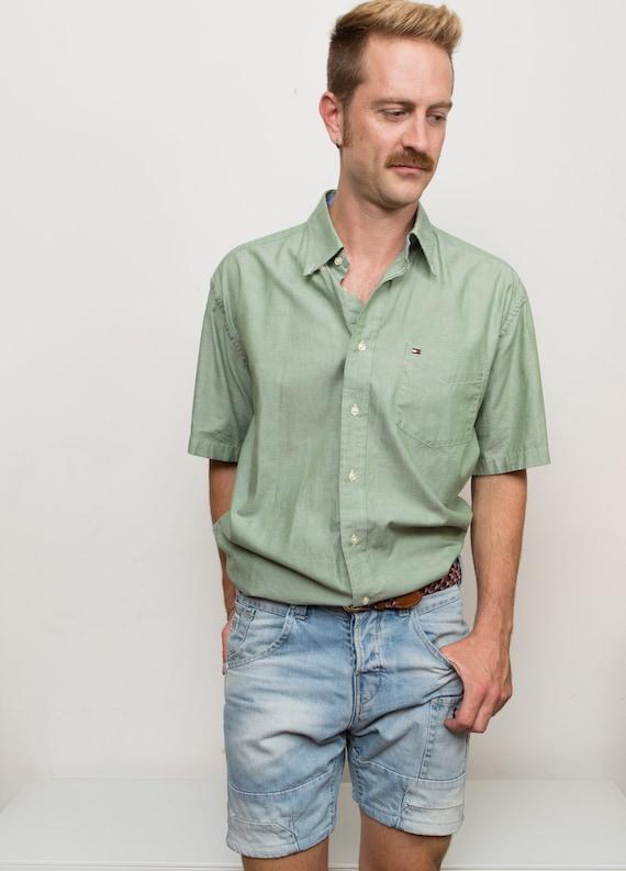 Men's Tommy Hilfiger Shirt - Green Button Down Shirt - Large Size Long Sleeved Office Summer Oxford Shirt