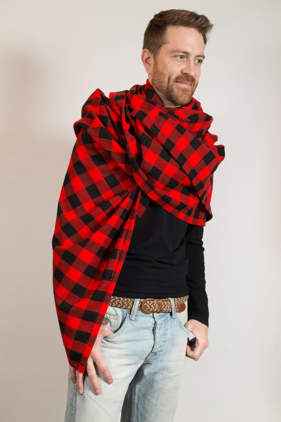 Buffalo Plaid Shawl - Red and Black Checkered Scarf - Red Riding Hood Picnic Blanket - Unisex Streetstyle Men's Women's Blanket Accessory