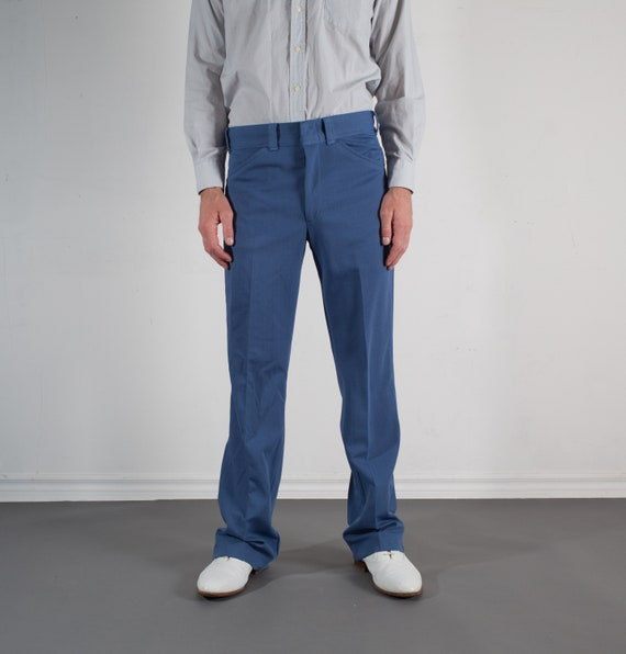 1970's Blue Pants - Mens 33W Polyester Rayon Slacks - 70's Trousers