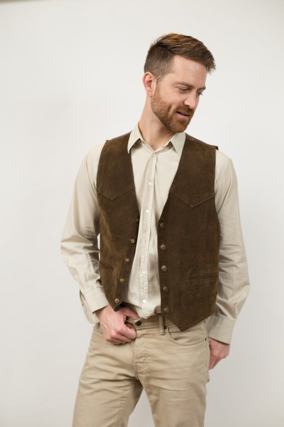 Vintage Suede Leather Vest - Unisex Small Casual or Formal Wedding Groomsmen Vest - Retro Country Western Folk Band Festival Accessory