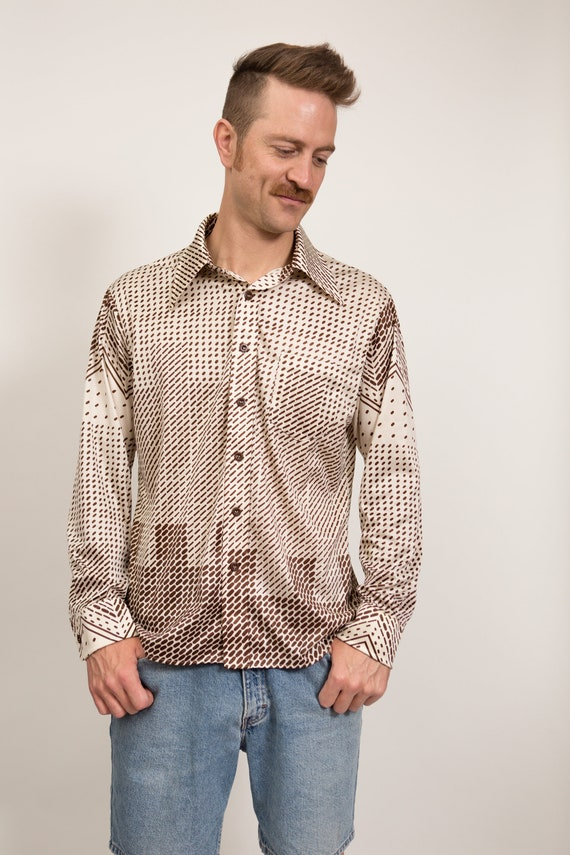 Vintage Abstract Shirt - Medium Size Men's Geometric Button up Oleg Cassini Shirt - Long Sleeved Shirt - Lightweight Shirt