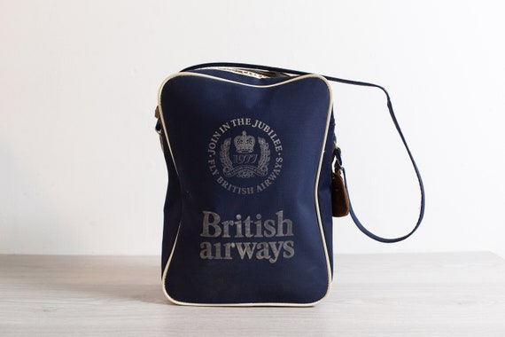 Vintage British Airways Bag - 1977 Queen's Silver Jubilee Blue and White Airplane Should Strap Carry on Bag