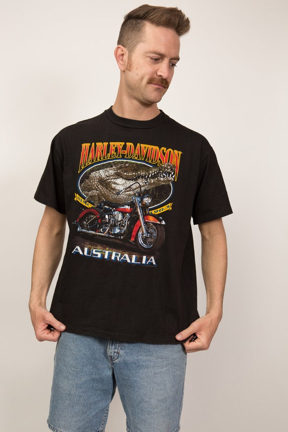 Vintage Harley Davidson Shirt - Men's Large Size Black Motorcycle Athletic Tee with Australia Motif - Vintage T-shirt
