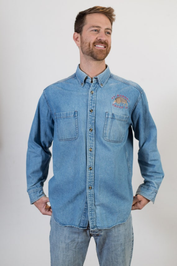 Vintage Denim Shirt - Medium Size Blue Faded Unisex Long Sleeved Blue Jean Shirt - Casual Summer Button up Mens Shirt