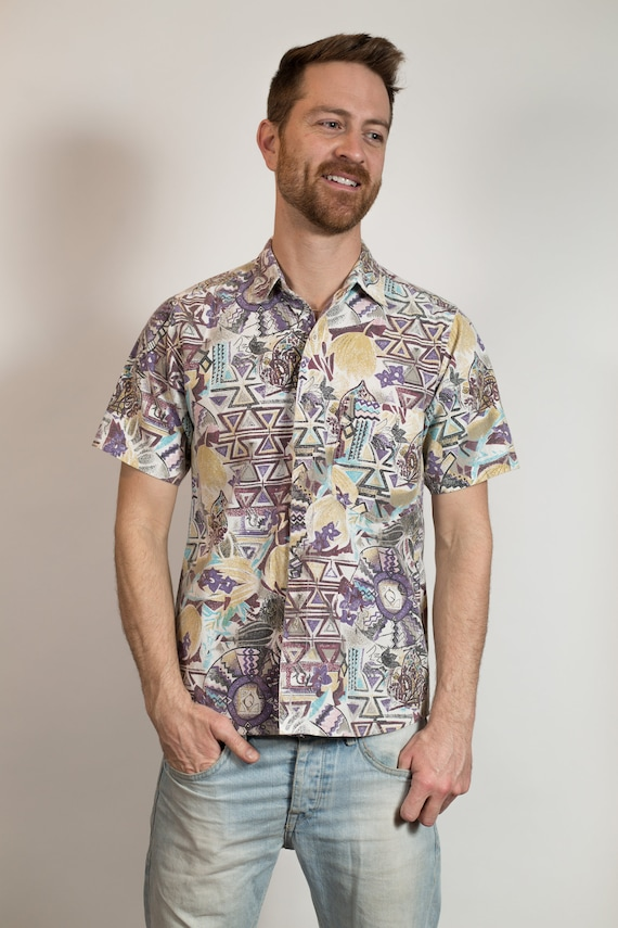 Vintage Abstract Shirt - Small Men's Lilac Purple Geometric Button up Oxford - Short Sleeved Shirt