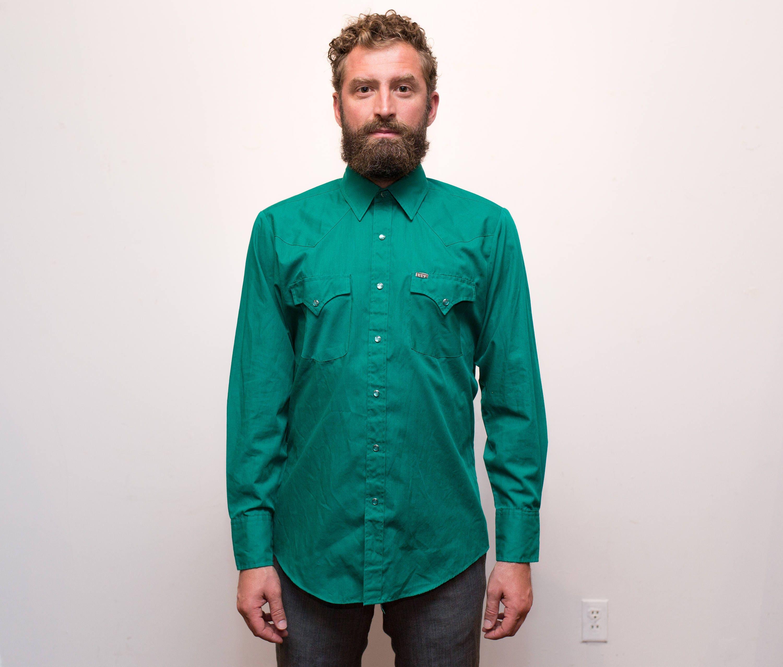 Vintage Western Shirt 1970s Mens Medium Emerald Green Rodeo Shirt