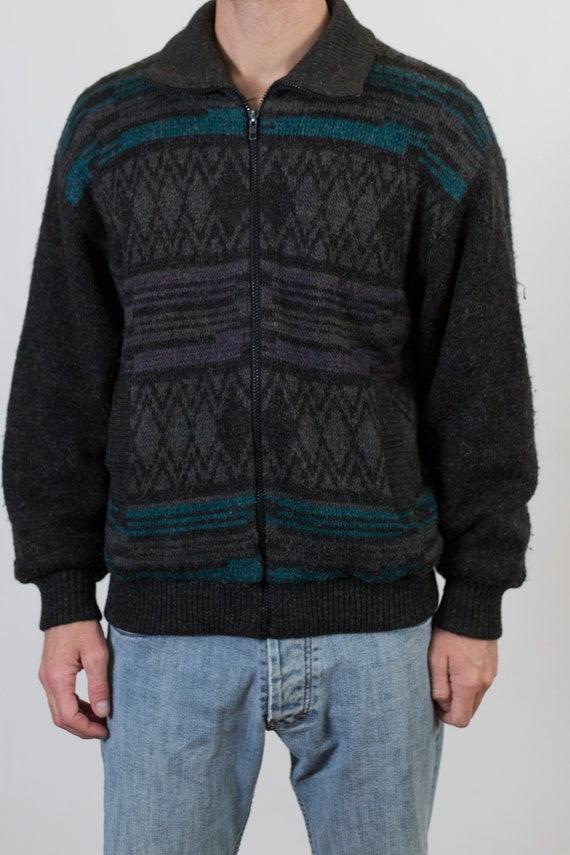 Vintage Geometric Jacket - Men's Large Outerwear Zip Up Winter Coat  Fall Autumn Winter Jacket Cardigan Sweater