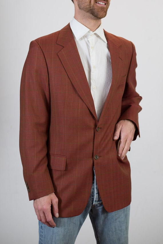 Vintage Rust Blazer - Medium Size 1990's Mens Sports Coat - Formal Office Autumn Casual Suit top